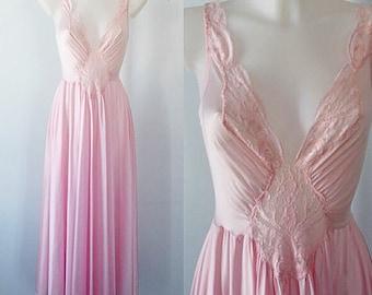 Vintage Pink Nightgown, Olga, Pink Nightgown, Vintage Nightgown, Nightgown, 1980s Nightgown, Romantic