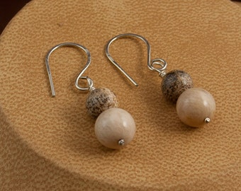 Pink Opal, Picture Jasper, Stone Earrings, Dangle Earrings, Woman's Earrings, Simple Earrings, Handmade Ear Wires, Unique Earrings, E157