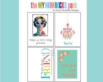 Mother's Day Gift Pack - For Mom - Cards for Mom - My Mom Rocks - Mother's Day Cards - Gifts for Mom - Mom Cards - Mothers' Day Gift Idea