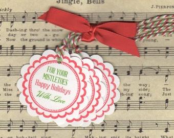 Christmas Gift Tags / Nail Polish Favor Tags / For Your Mistletoes Tags - Set Of 6 Holiday Favor Gift Tags