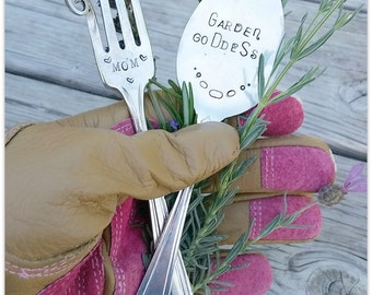 Plant Markers, Mom Garden Goddess, Mothers Day, Gardening Gift, Gardener, Hand Stamped, Vintage Silverware, Spoon Fork Marker, Ready to Ship