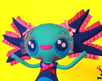 Axolotl felt ooak doll handmade LOTTA