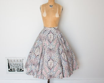 Vintage 1950s Skirt - 50s Printed Skirt - The Maeve
