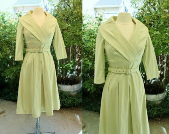 Up-Cycled Sage Green Bridal Dress Mother of the Bride Size 8 Vintage Retro 90's Rhinestones Shawl Collar 3/4 Sleeves Cocktail Party Wedding
