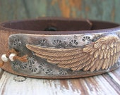 Angel wings leather bracelet - Night Flight - Bohemian jewelry, urban farmhouse chic country, boho chic, feathers, stamped jewelry, bird