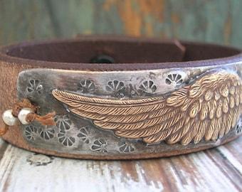 Angel wings leather bracelet - Night Flight - Bohemian jewelry, urban farmhouse chic country, boho chic, feathers, stamped jewelry, bird