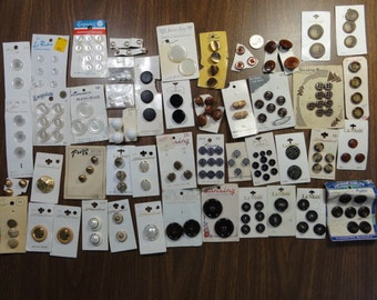 Vintage Buttons on Cards, Large Lot of UNUSED Buttons- Neutral Colors Black Brown Silver Gray White, Mixed Lot All Shapes & Sizes, La Mode