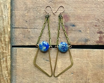 vintage brass earrings / brass dangles / statement earrings / DUMORTIERITE & BRASS