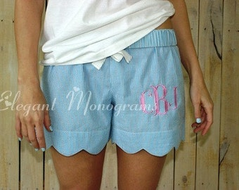 Women's Monogrammed Seersucker Scallop Lounge Shorts
