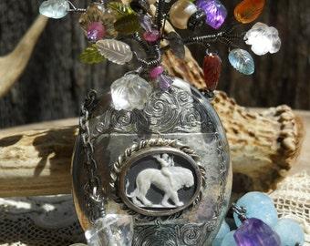 Sentimental Journey      Antique Scent Flask Cameo Flower Bouquet Assemblage Necklace