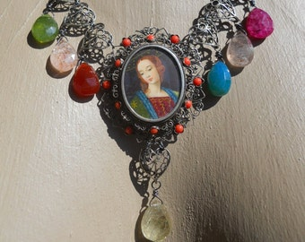 Queen of Hearts     French Portrait Gemstone Assemblage Bib Necklace