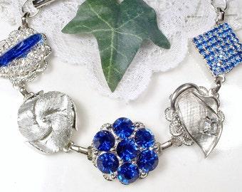 OOAK Sapphire Rhinestone Vintage Earring Bracelet,Silver Navy Bridal Bridesmaid Jewelry Wedding Gift Something Blue Old Cobalt Mother Bride