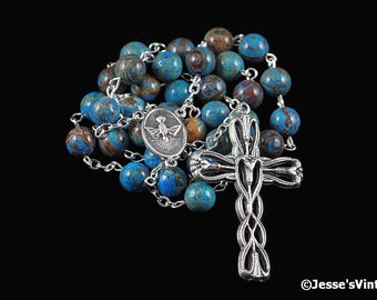 Anglican Rosary Blue Crazy Lace Agate Natural Stone Prayer Beads Silver Christian Episcopal Rosary Beads