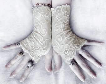 Lissette Lace Fingerless Gloves | Ivory Off White Embroidered Floral | Gothic Vampire Regency Tribal Bellydance Goth Austen Fetish Tea Cream