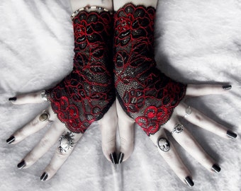 Lace Fingerless Gloves | Black Deep Red Metallic Embroidered Floral | Gothic Vampire Offbeat Bridal Bellydance Goth Evening Prom | Celosia