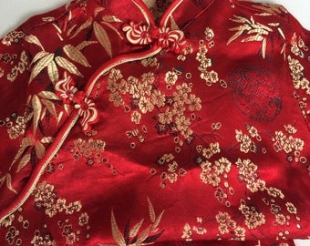 Child's Asian Mandarin Outfit in Red Satin Brocade