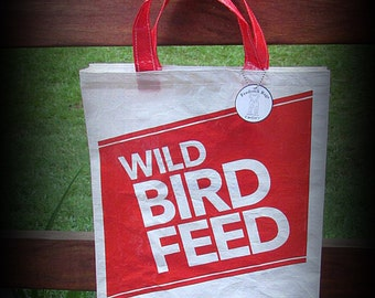 Bird Seed Bag, Recycled Feed Bag, Feedsack Tote, Grocery Bag, Tote bag, Red and White, Feedsack Bag, Feed Sack Bag, Bird Seed Tote, Upcycled
