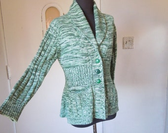 L.A. BOHEMIAN...Vintage 70's Cardigan Sweater, Ribbed Sleeves, Marled Green and White, Small to Medium