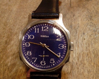 Wrist watch mens watch Pobeda cobalt blue watch men watch