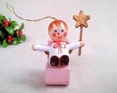 Vintage Christmas Ornament, Baby Angel w/ Christmas Star, Baby's First Christmas Ornament, Painted Wood Mini Doll Ornament, Christmas Décor