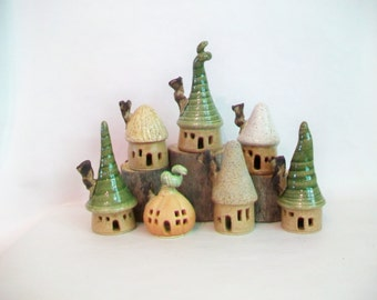 Garden Fairy House Village -  Set of 7 Houses - Handmade on Potters Wheel - Houses Ready Now - Photo Shows  Actual Houses