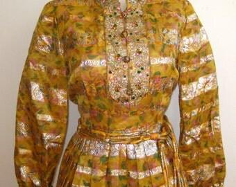 Vintage 60s Pat Sandler Embroidered Golden Metallic Full Skirt Formal Party Dress