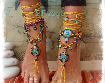 TIGER EYE Barefoot SANDALS Yellow Turquoise Wedding accessories beaded Crochet sandal Foot jewelry Hippie Gypsy Bohemian summer GPyoga