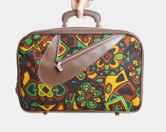 Vintage 60s MOD Print Canvas Suitcase Satchel