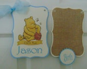 Winnie the Pooh Classic Birthday 12 month photo Banner- Disney - 1st year photo banner - Burlap banner-twin birtday