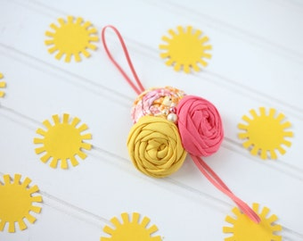 Just Peachy-- triple rosette headband