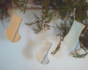 Small French Christmas Stocking * Antique French Ticking Fabric * Yellow and White * FREE SHIPPING
