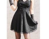 FREE SHIPPING - Full black Sleeveless lace overlay corset style mini dress