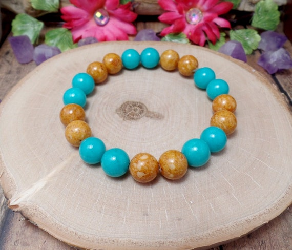 Turquoise & Brown Stretch Bracelet - Bohemian Bracelet - Beach Bracelet - Two Toned Bracelet