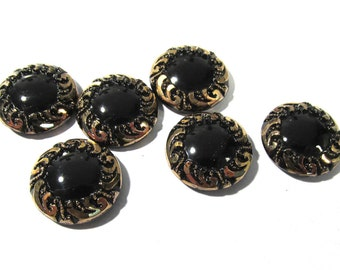 Black Glass Shankless Buttons West Germany VINTAGE Black Gold Luster Buttons Six (6) Vintage Buttons Jewelry Sewing Supplies (F183)