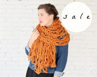 SALE | LAST ONE! | The Wisteria Wrap in Apricot | Chunky Knit Oversized Winter Wrap Scarf