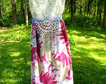 Pink floral dress, vintage slip dress, upcycled vintage, prairie sundress, purple floral, country dress, rustic, size medium, Lily Whitepad