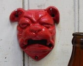 Cast iron Bulldog Bottle Opener RED distressed Wall mount Dog Bar Kitchen Garage Man cave
