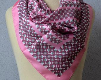 Vintage Square Scarf: Pink, Silver, White, Geometric, Retro, Bold
