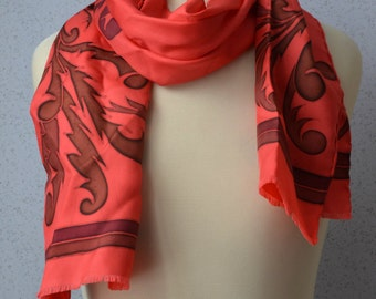Long Vintage Silk Scarf: Dragons, Asian, Red, Abstract, Modern, Tribal