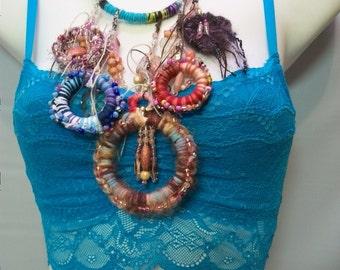 Handmade Fiber Art Necklace, Bohemian Inspired Necklace, Large Statement Necklace, Fiber Jewelry, handmade Jewelry, Colorful Fiber Rings