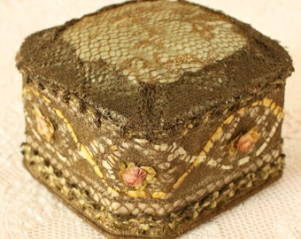 Antique French Ribbon Work Pin Cushion Metallic Lace