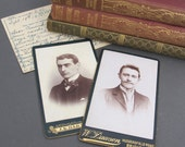 Pair of Antique Photographers Advertising Cards from England - Business Cards - Vintage Sepia Photograph of a Man