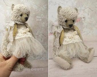 """Mercy, One of a Kind  8"""" Mohair Artist Teddy Bear Girl from Aerlinn Bears"""