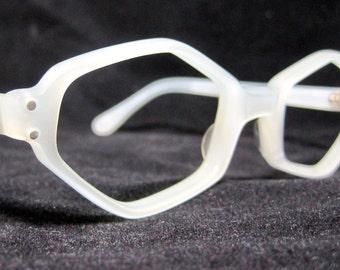 Vintage 60s Eyeglass Frames. Geometric Shape in Pearl White