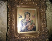 Awsome Vintage Or Lady of Perpetual Help Ornate Wood Framed/Gessoed Virgin Mary Picture Icon Religious Wall Art.