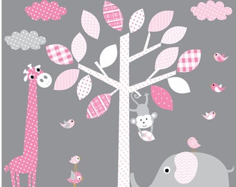 Girls Nursery Decal Tree Decal Nursery Wall Stickers Colorful Tree Owl Wall Decal Elephant