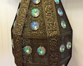 "SaLe! MOROCCAN LIGHT Hanging LANTERN Chandelier Iridescent Crystals Piereced Brass Boho, Bollywood, Swag Lantern 24"" Height at Modern Logic"
