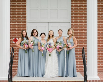 Pelican Dusty Blue Long Octopus Infinity Convertible Wrap Gown Dress~ Bridesmaids, weddings, All sizes