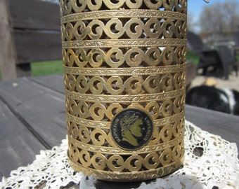 Vintage Filigree Coin Bank Napoleon Emperor with Heart Lock AND KEY for this lovely gold tone scroll treasure keeper