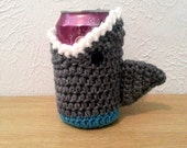 Shark Cup Cozy, Crochet Cup Cozie, Can Holder, Bottle Holder, Crochet Drink Accessory
